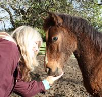 Janet Ferraro with foal