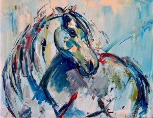 Gestural mark making and use of color make this an engaging and delightful painting.